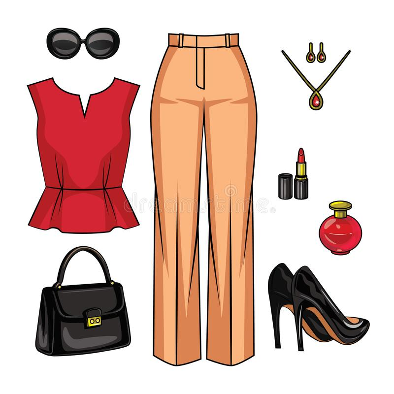 Color vector realistic illustration of a female outfit. royalty free illustration