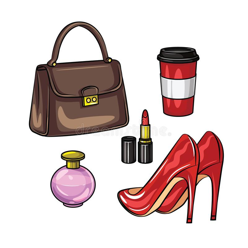 Color vector realistic illustration of women`s wardrobe items. A set of women`s accessories isolated from white background. Hand vector illustration