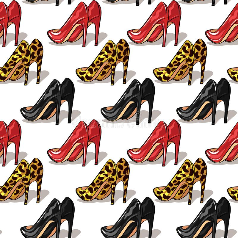 Color vector seamless pattern of womens high heels shoes. Stylish, elegant shoes of different colors isolated on white background. Classic shoes illustration vector illustration