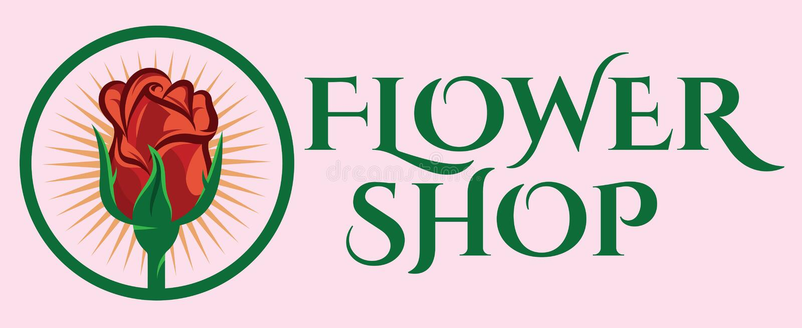 Color vector template for flower shop with rose royalty free illustration