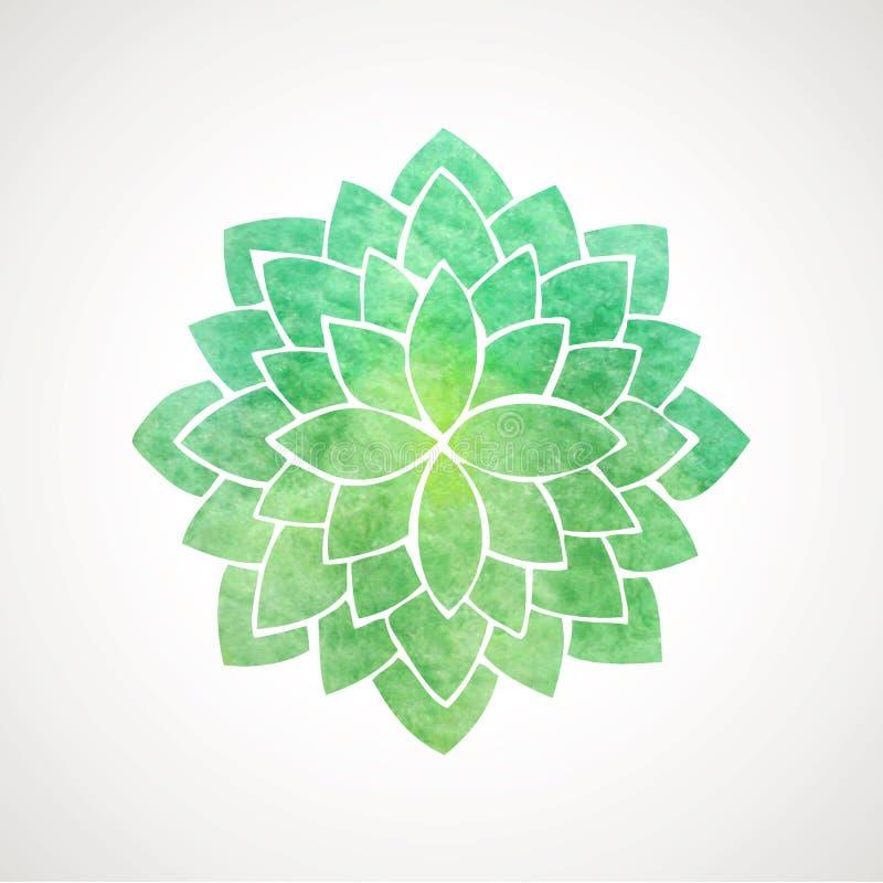 Color verde de la flor de loto de la acuarela ilustración del vector