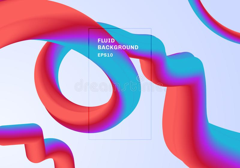 Color vibrante de moda de la pendiente del fondo moderno abstracto El flujo forma el color rojo, rosado y azul 3D con l?quido esp libre illustration