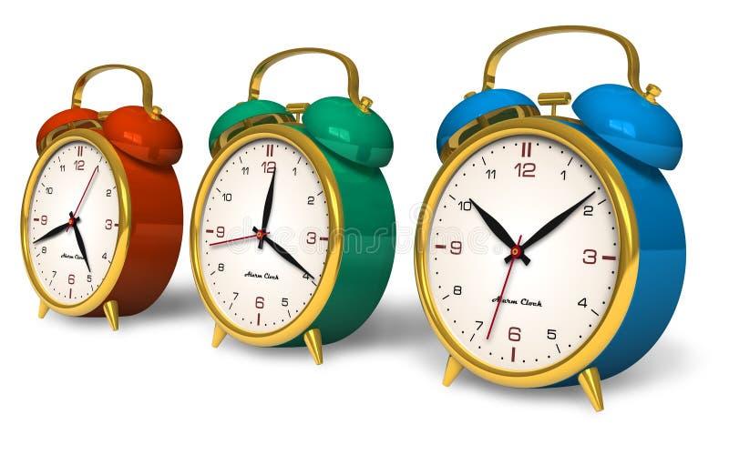 Color vintage alarm clocks vector illustration