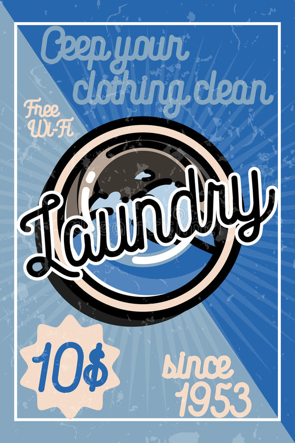 Download Color Vintage Laundry Poster Stock Vector