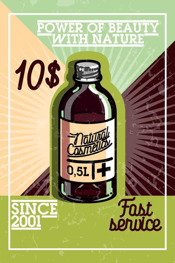 Color vintage natural cosmetics banner stock illustration