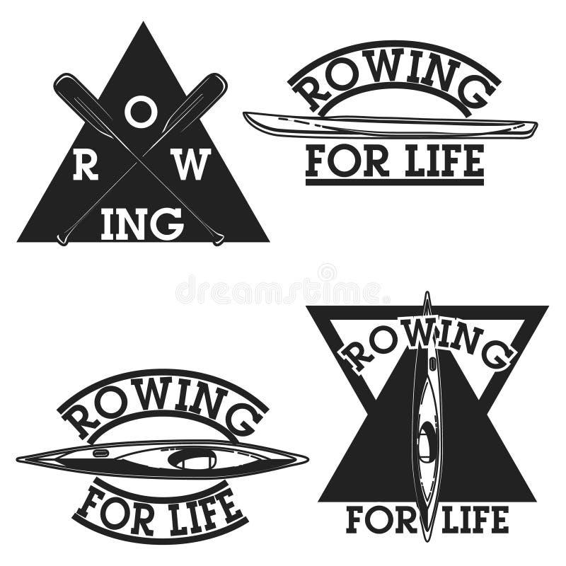 Color vintage rowing emblems. Labels, badges and design elements. Vector illustration, EPS 10 vector illustration