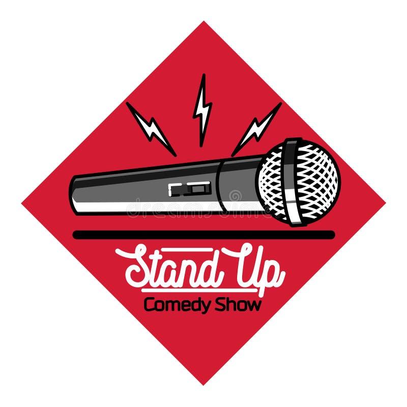 Color vintage Stand up comedy show emblem. Logo and badge at white background stock illustration