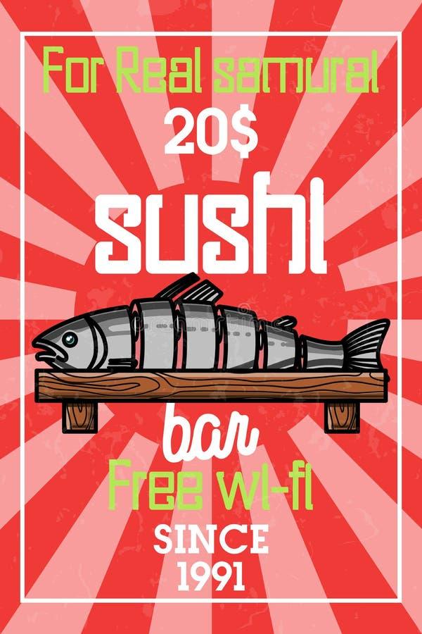 Color vintage sushi bar banner. Sushi Bar. Vector illustration, EPS 10 royalty free illustration