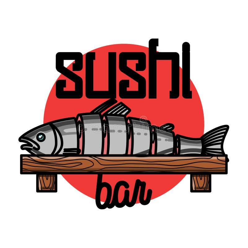 Color vintage sushi bar emblem. Color vintage sushi emblem. Sushi Bar. Vector illustration, EPS 10 royalty free illustration