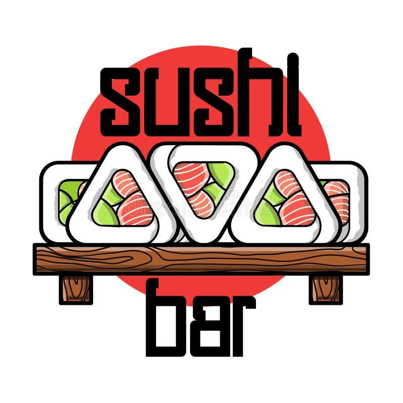 Color vintage sushi bar emblem. Color vintage sushi emblem. Sushi Bar. Vector illustration, EPS 10 vector illustration