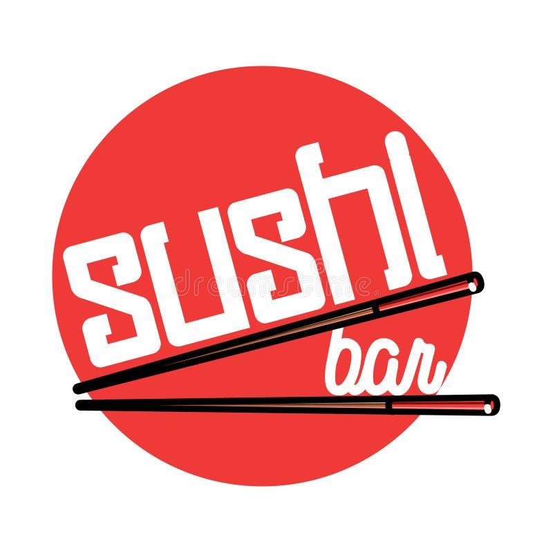 Color vintage sushi bar emblem. Color vintage sushi emblem. Sushi Bar. Vector illustration, EPS 10 stock illustration