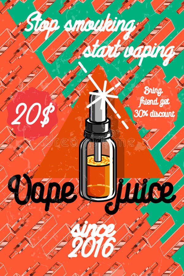 Color vintage vape, e-cigarette poster. Vector illustration, EPS 10 stock illustration