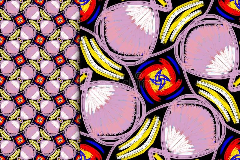 Color violeta del modelo oriental, ejemplo Mandala de la flor Elementos decorativos de la vendimia Ornamento En un fondo negro ilustración del vector