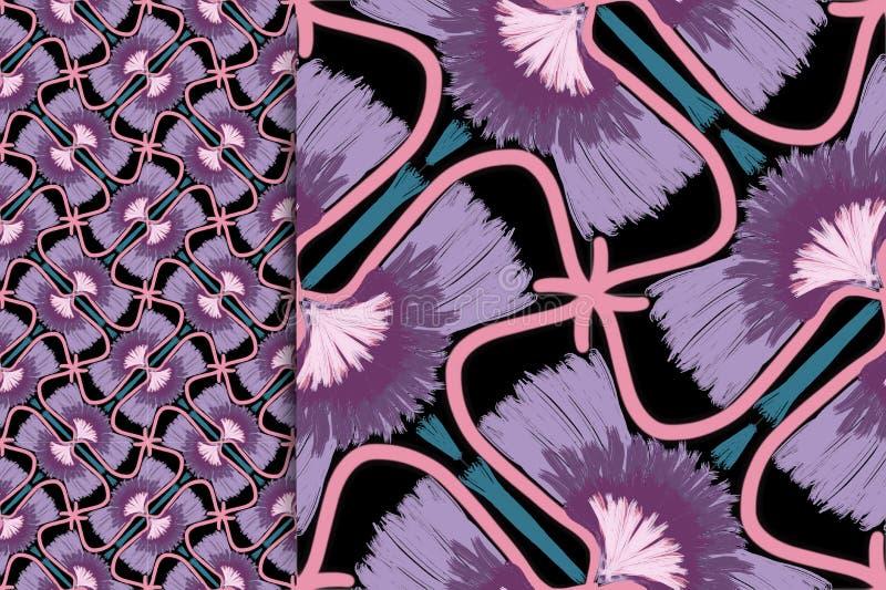Color violeta del modelo oriental, ejemplo Mandala de la flor Elementos decorativos de la vendimia Ornamento En un fondo negro libre illustration