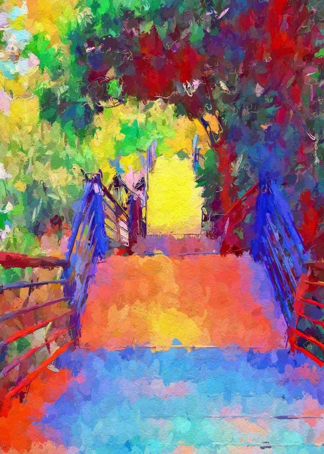 Color of walkway in nature garden stock images