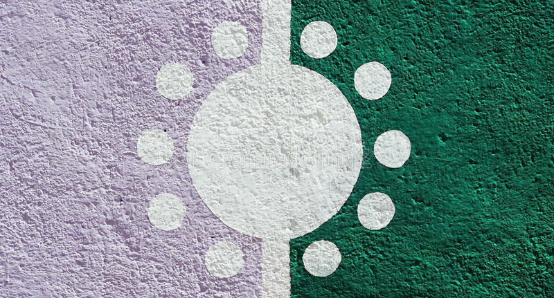 Color wall background with sun design stock photography