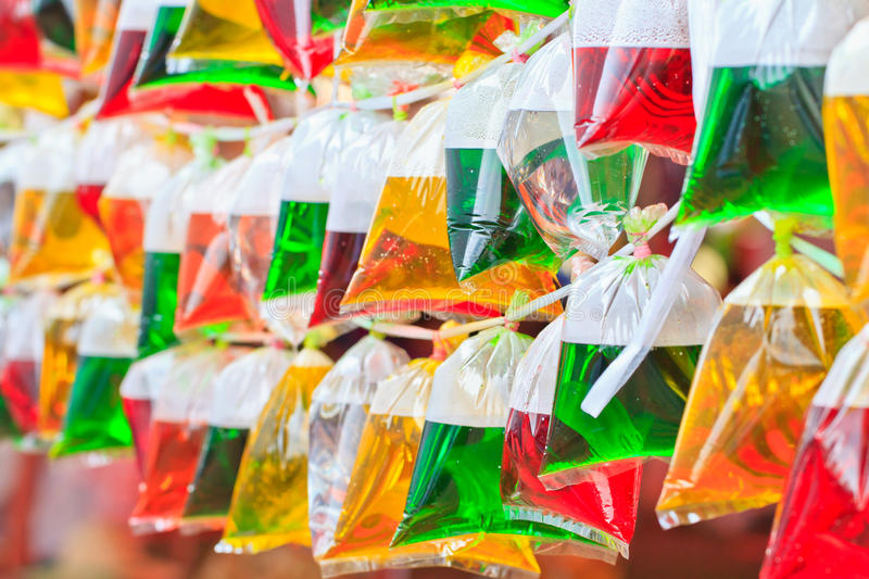 Color water in bags. Color water in the translucent plastic bags, Can use background stock photo