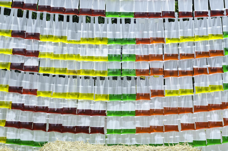 Color water in plastic bag. Background of color water in the translucent plastic bag royalty free stock image