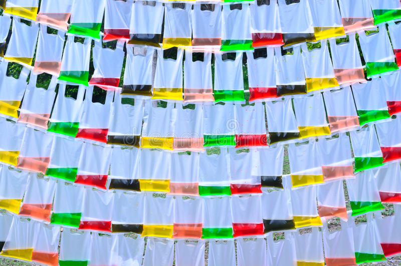 Color water in the translucent plastic bag. Background of color water in the translucent plastic bag royalty free stock photos