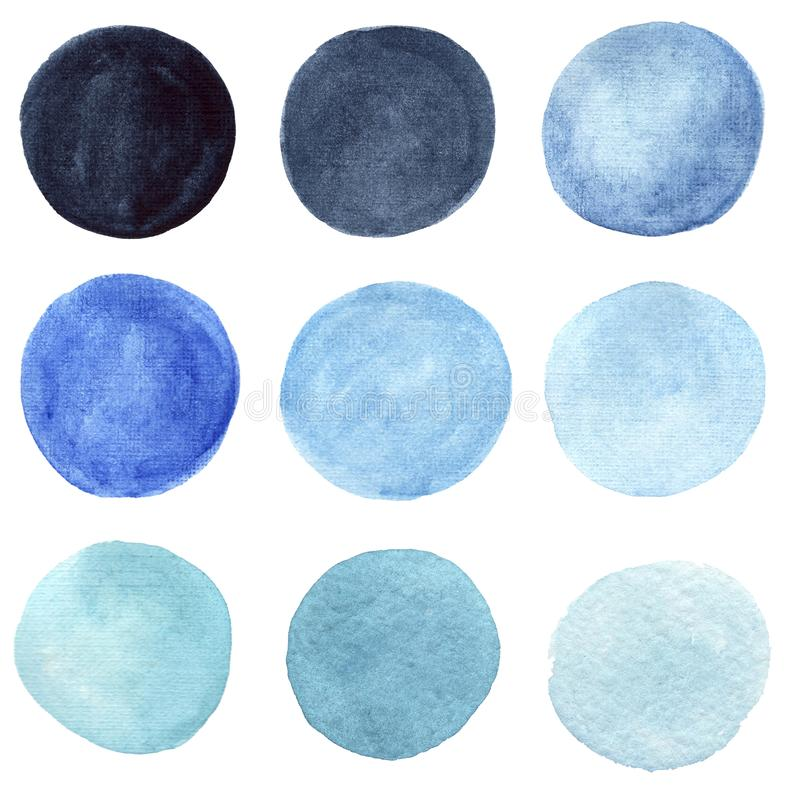 Color watercolor circle set. Watercolour splash stain on transparent background isolated on white vector illustration