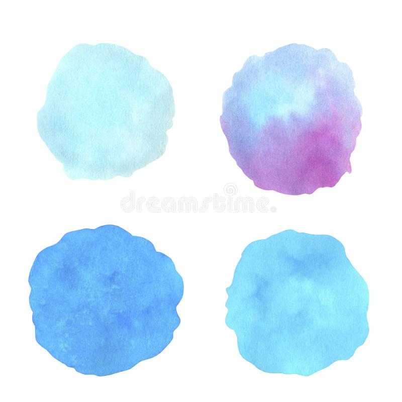 Color watercolor set. Watercolour splash stain on transparent background isolated on white vector illustration