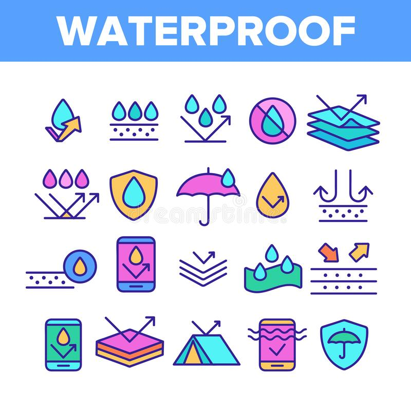 Color Waterproof, Water Resistant Materials Vector Linear Icons Set. Waterproof, Surface Protection Outline Cliparts. Hydrophobic Fabric Pictograms Collection stock illustration