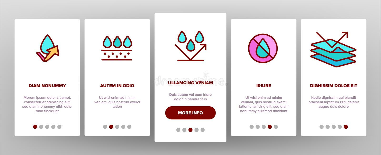 Color Waterproof, Water Resistant Materials Vector Onboarding. Mobile App Page Screen. Waterproof, Surface Protection. Hydrophobic Fabric Pictograms Collection stock illustration