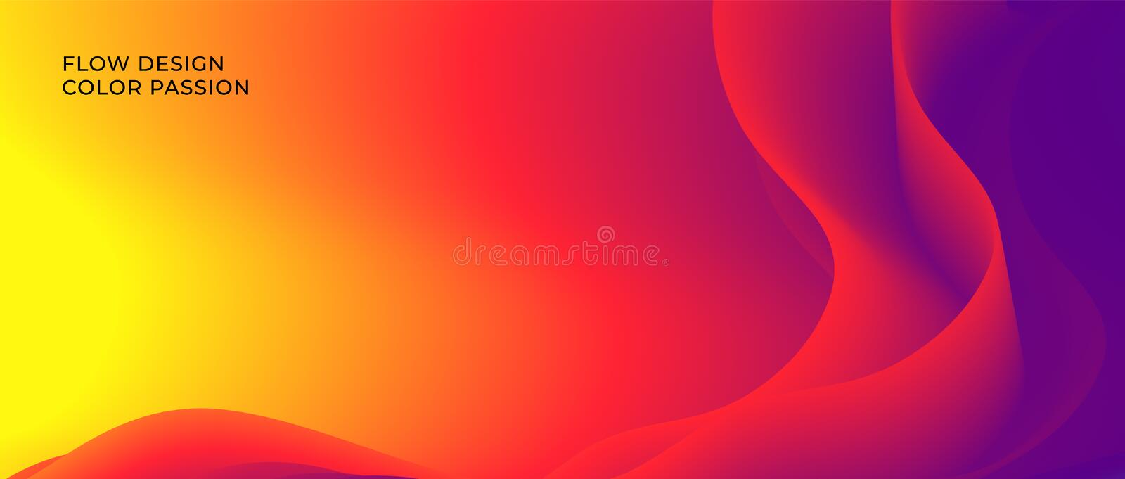 Color wave flow background. Abstract liquid colour motion with a fluid lines and a smooth gradient. Eps10 royalty free illustration