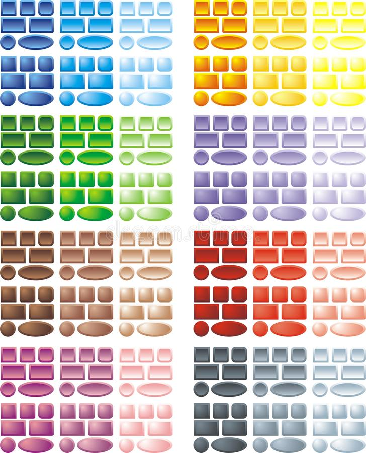 Color web buttons. Isolated on the white background stock illustration