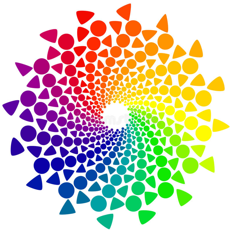 Download Color Wheel With Circles And Triangles Stock Vector