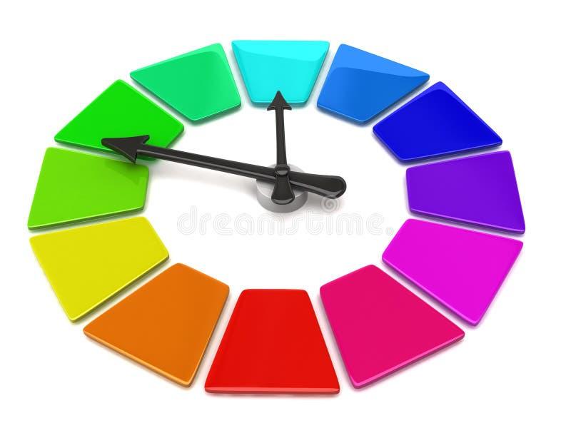 Color Wheel clock vector illustration