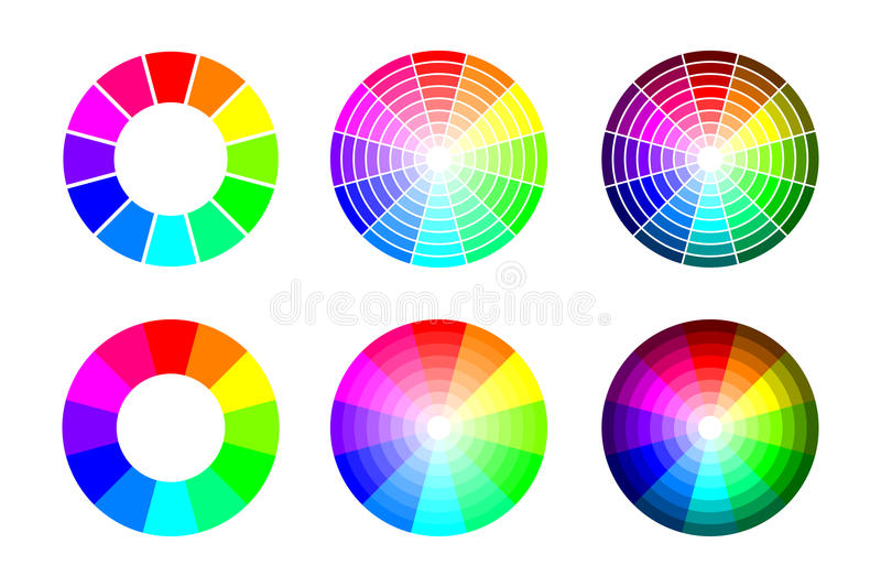 Color wheel from 12 color rgb, vector set on white background stock illustration