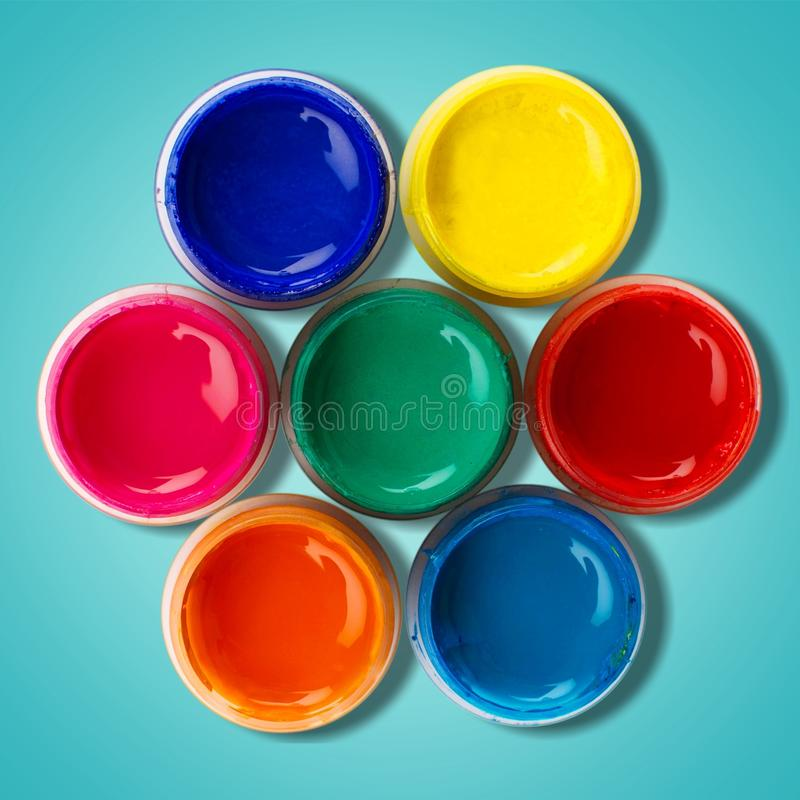 Color wheel. Paint can paint printing press can descriptive color ink stock photo