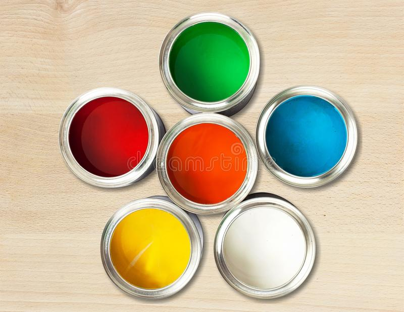 Color wheel. Paint can paint printing press can descriptive color ink royalty free stock image