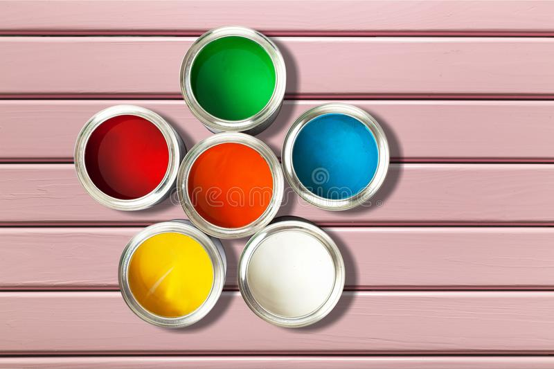 Color wheel. Paint can paint printing press can descriptive color ink royalty free stock photos