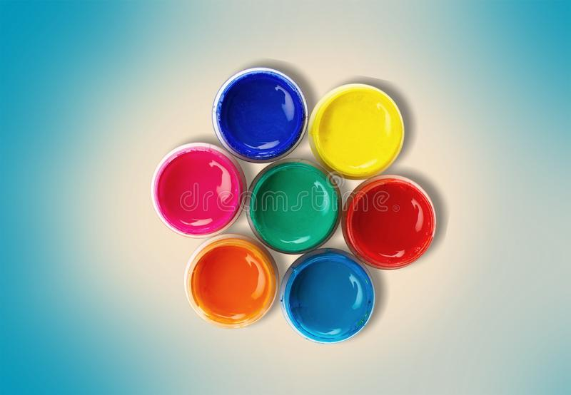 Color wheel. Paint can paint printing press can descriptive color ink stock photos