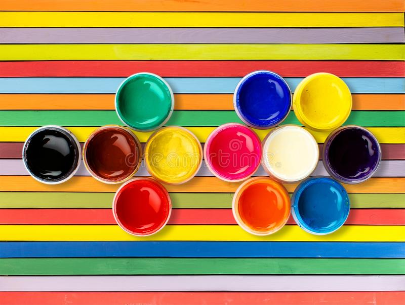 Color wheel. Paint can paint printing press can descriptive color ink royalty free stock photography