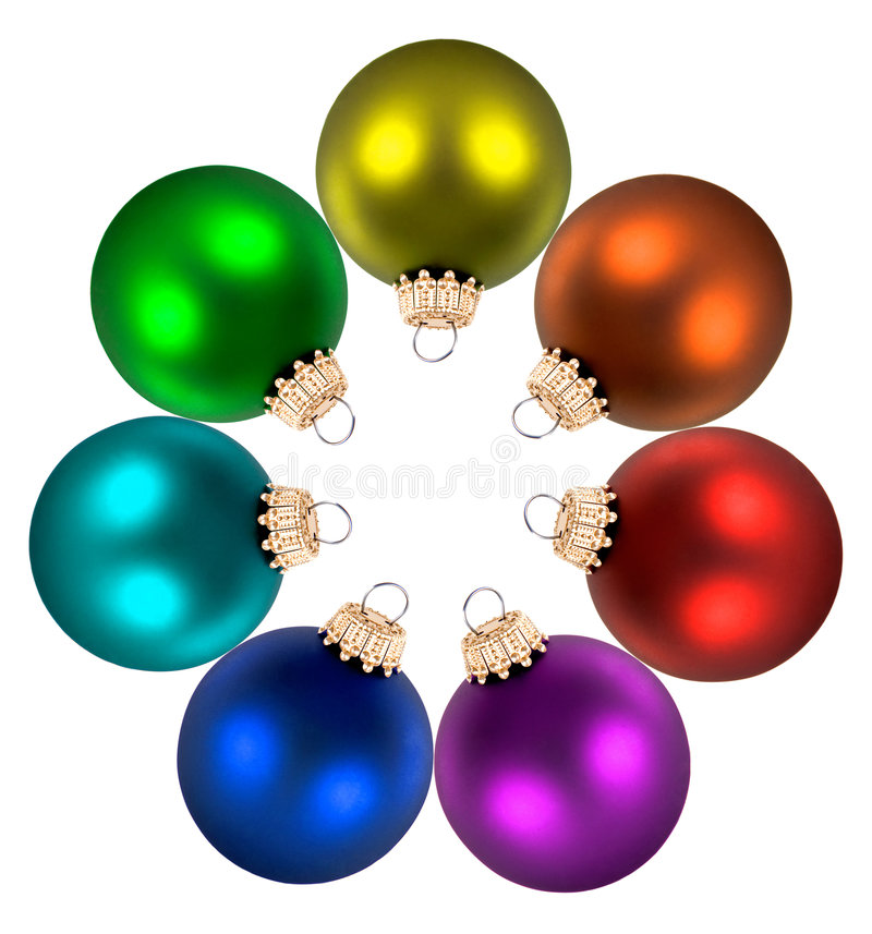Color wheel decorations. Christmas color wheel decorations on white isolated background stock images
