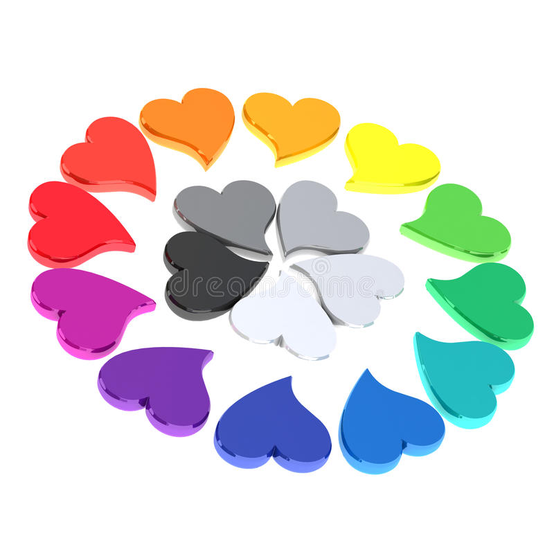 Color wheel of hearts 3d. Color wheel made of hearts 3d vector illustration