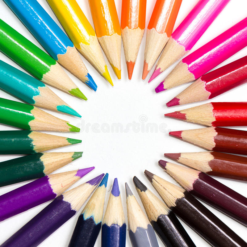 Color wheel made or pencils. Color wheel made or colored pencils stock images