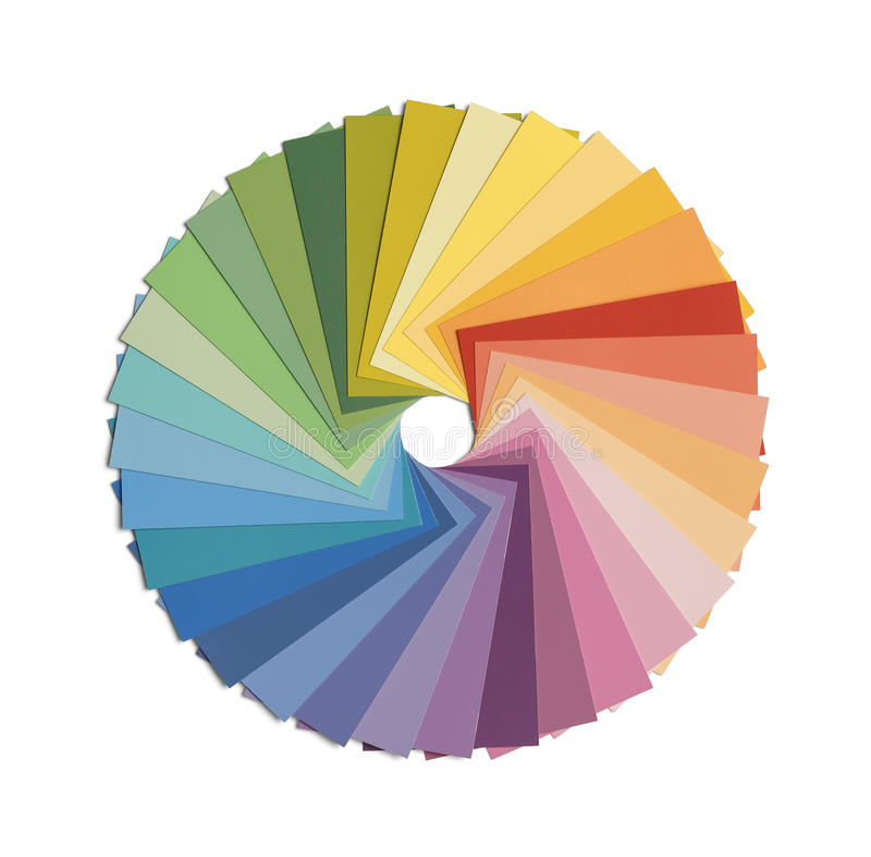 Color Wheel. Paint Samples in Color Wheel Formation Isolated on White Background stock images