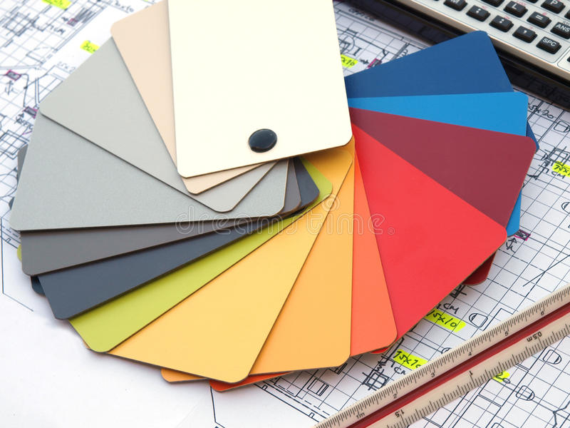 Color wheel. Palette over architecture blueprint royalty free stock photo