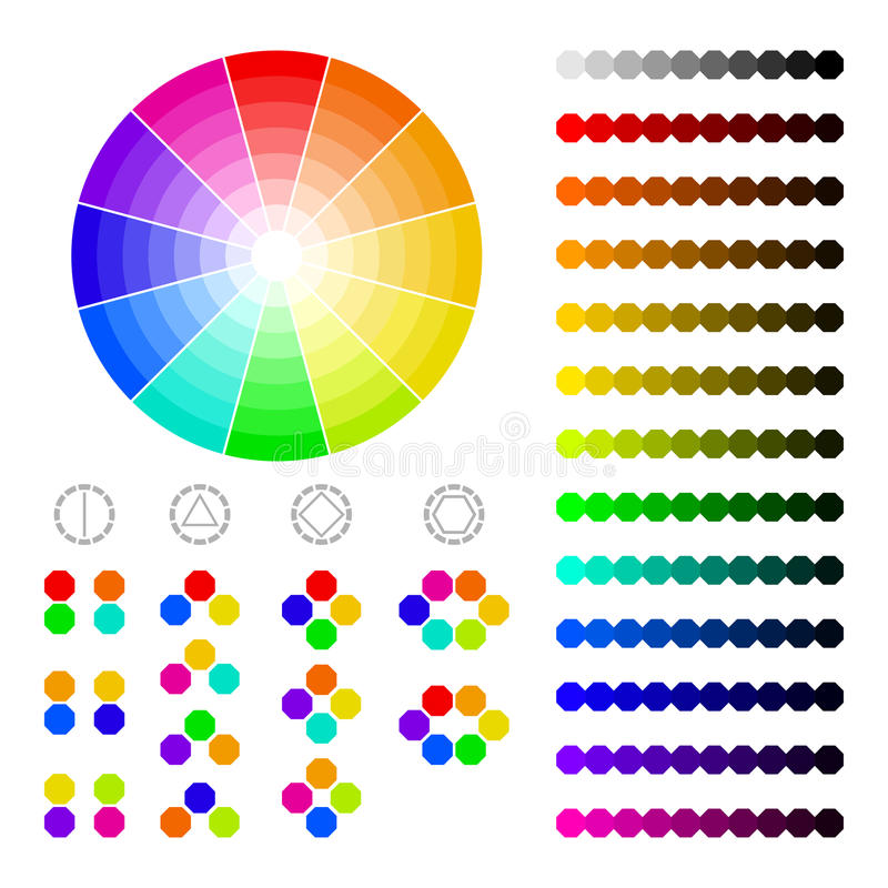 Color wheel with shade of colors,color harmony. For design stock illustration