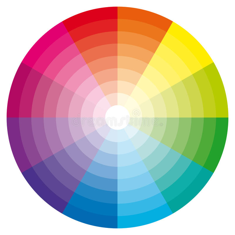 Color wheel with shade of colors. Designer tool vector illustration