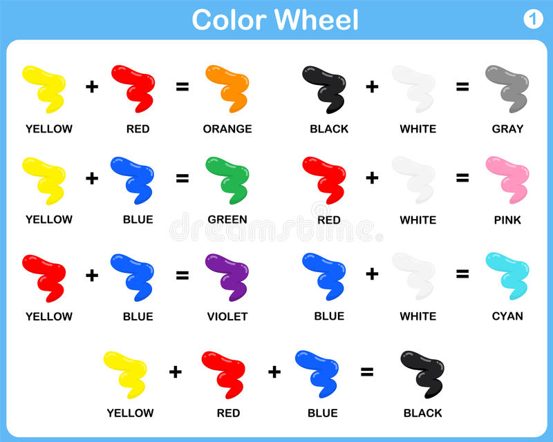 Download Color Wheel Worksheet For Kids Stock Vector