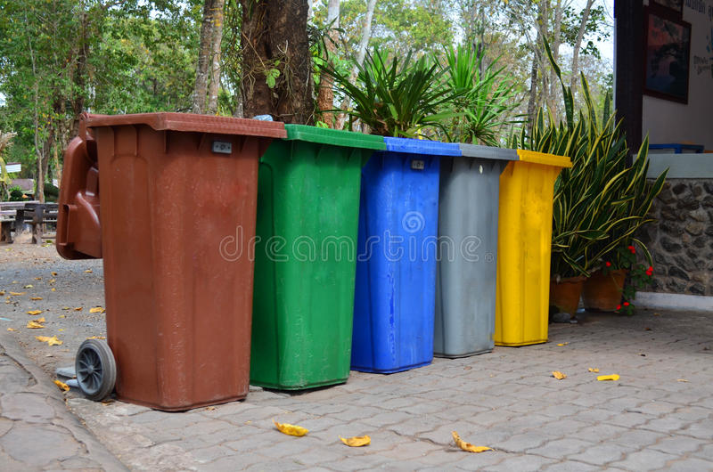 Color wheelie garbage bins. For waste collection stock photo