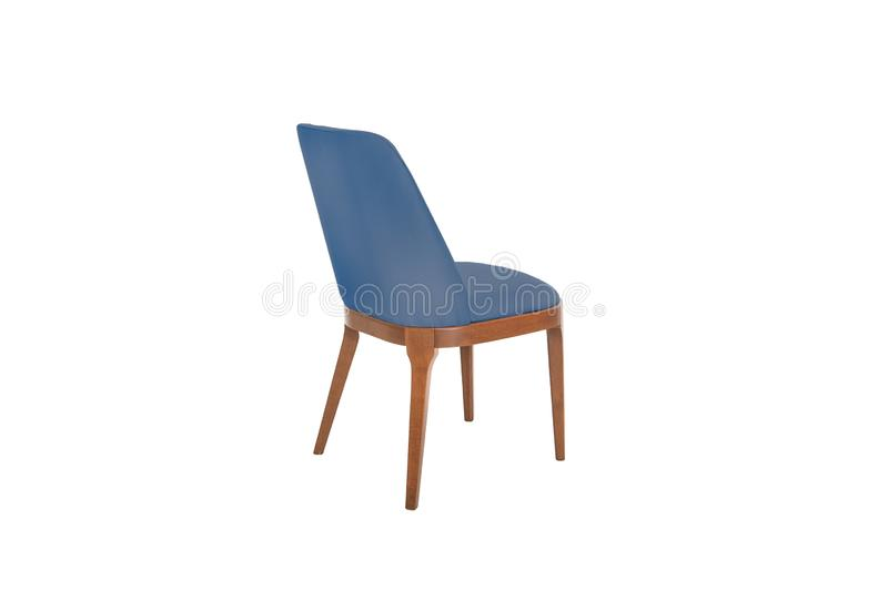 Color wooden and fabric Chair. Isolated on white, back, background, blue, business, comfortable, contemporary, cushioned, decor, design, elegance, everyday stock images