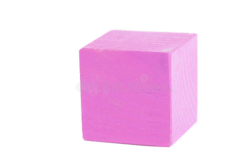 Color wooden game cube.Toy block isolated on white. Background royalty free stock photo