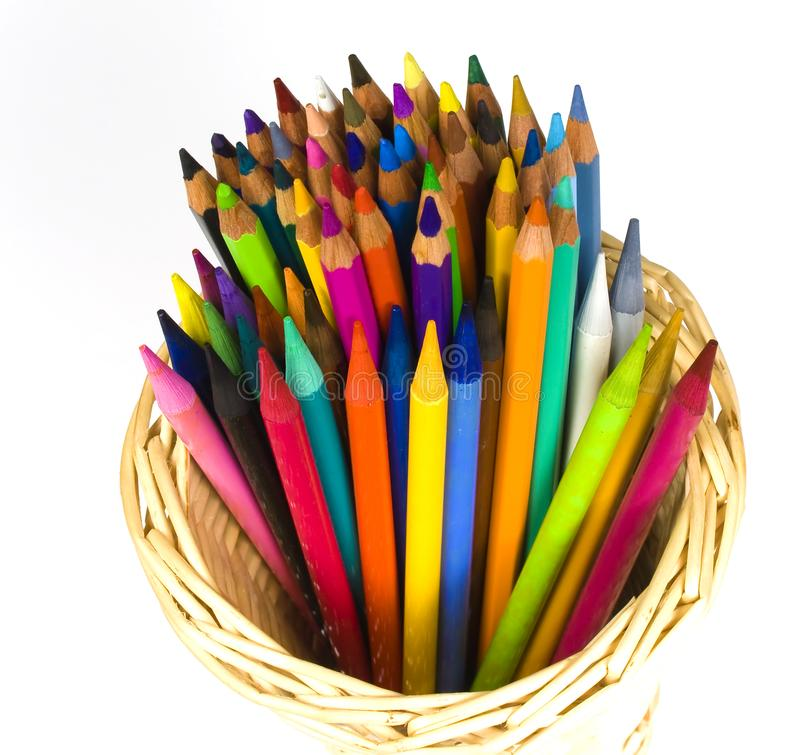 Download Color Wooden And Woodless Crayons Stock Photo - Image: 8641904