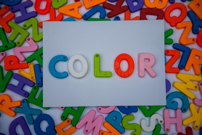Color written with alphabet blocks royalty free stock images